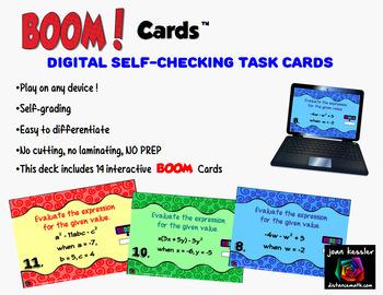 Evaluating Algebraic Expressions with BOOM Cards Digital 1:1 Algebra FREEBIE!!