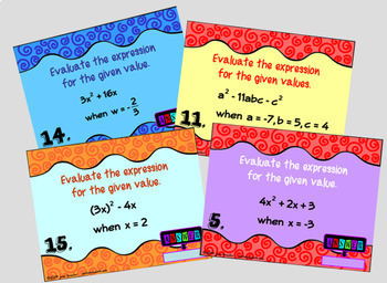 Evaluating Algebraic Expressions with GOOGLE Slides for Algebra