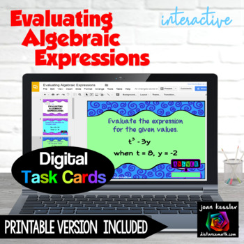 Evaluating Algebraic Expressions with GOOGLE Slides™ for Algebra