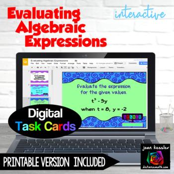 Evaluating Algebraic Expressions with GOOGLE Slides for Algebra