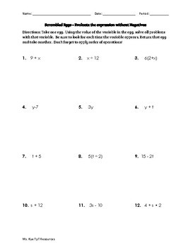 Evaluating Algebraic Expressions with and without Negatives