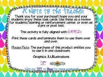Evaluating Algebraic Expressions**QR CODE Task Cards**