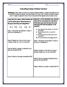 Evaluating Answer Choices - Fraction Multiple Choice Math [Freebie]