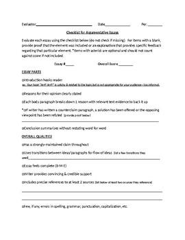 Evaluating Argumentative Essays Peer Review Checklist/Feedback Form