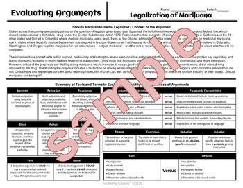 "Argument Analysis Activity ""Legalization of Marijuana"""