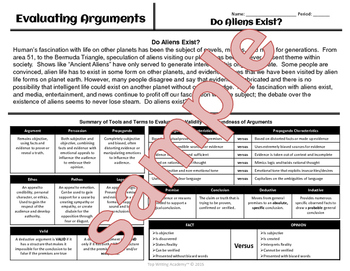 "Argument Analysis Activity ""Do Aliens Exist?"""