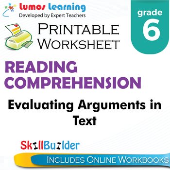 Evaluating Arguments in Text Printable Worksheet, Grade 6