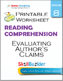 Evaluating Author's Claims Printable Worksheet, Grade 8
