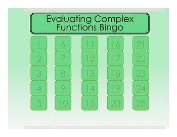 Evaluating Complex Functions Bingo