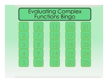 Evaluating Complex Functions Bingo