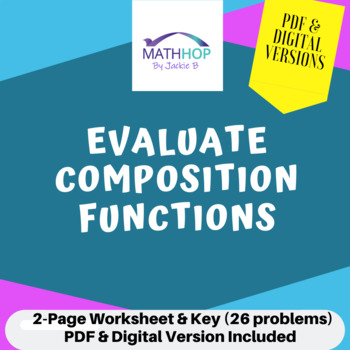 Evaluating Composition Function Worksheet and Key