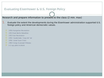 Evaluating Eisenhower U.S. Foreign Policy Activity