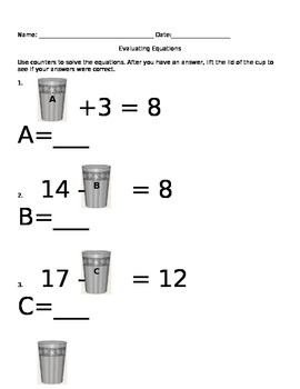 Evaluating Equations  Center Activity