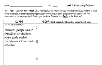 Evaluating Evidence Argumentative Debate - Should Youth/School Sports be Banned?