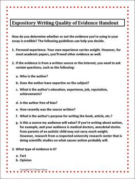 Evaluating Evidence for Expository Essay