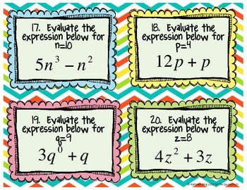 Exponent Expressions Task Cards