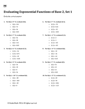Evaluating Exponential Functions of Base 2--Worksheet Bundle
