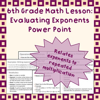 Evaluating Exponents: A Power Point Lesson