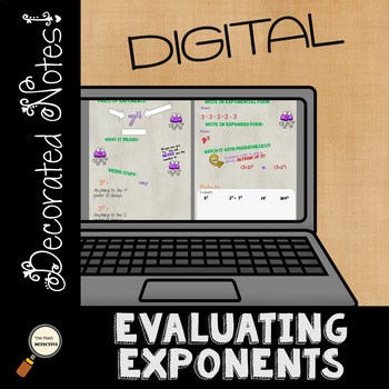 Evaluating Exponents DIGITAL Decorated Notes for Interactive Notebooks