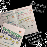 Evaluating Exponents - Decorated Notes Brochure for Interactive Notebook