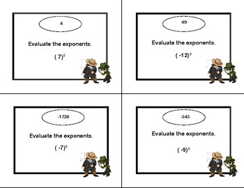 Evaluating Exponents Scavenger Hunt-Grades 6-7-Print and Go