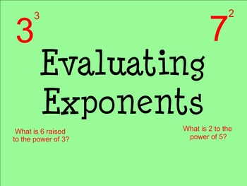 Evaluating Exponents - Smartboard
