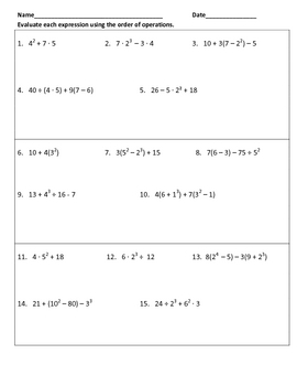 Evaluating Expression Using Order of Operations Warm-Ups or Worksheet