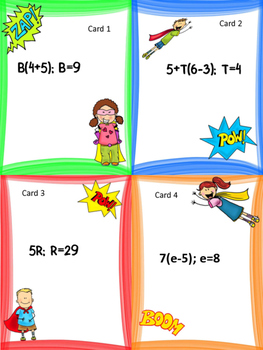 Evaluating Algebraic Expressions: Task Cards