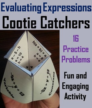 Evaluating Expressions Practice Activity 5th 6th 7th 8th Grade