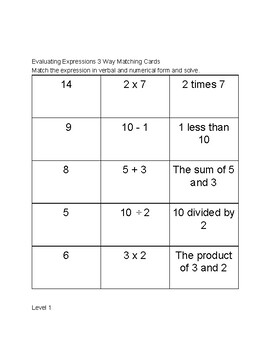 Evaluating Expressions 3 Way Matching
