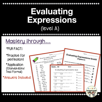 Order of Operations, Evaluating Expressions-LEVEL A (Algebra I/PreAlgebra)
