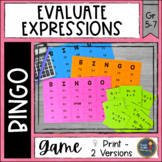 Evaluating Expressions BINGO Math Game
