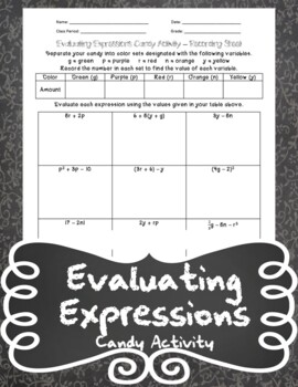 Evaluating Expressions Candy Activity