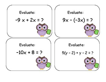 Evaluating Expressions Card Activity