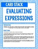 Evaluating Expressions Card Stack