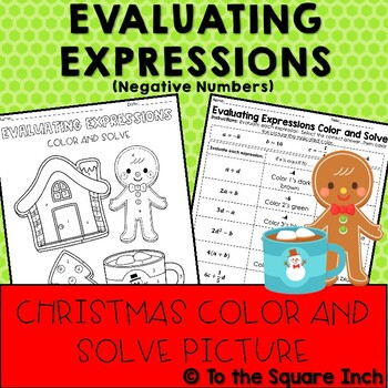 Evaluating Expressions Christmas Color and Solve