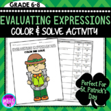 Evaluating Expressions Color and Solve Math Activity (Perf
