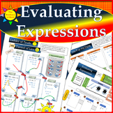 Evaluating Expressions:  Colored Notes, Mazes, Key WITH WORK SHOWN