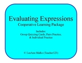 Evaluating Expressions Cooperative Learning Package