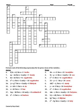 Evaluating Expressions Crossword Puzzle II