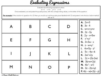 Evaluating Expressions : Cut & Paste Puzzle