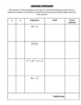 Evaluating Expressions Dice Game