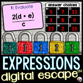 Evaluating Algebraic Expressions Digital Math Escape Room