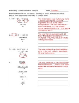 Evaluating Expressions Error Analysis