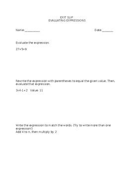 Evaluating Expressions Exit Slip