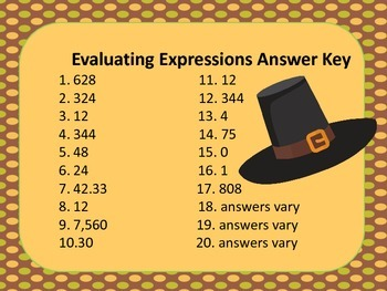 Evaluating Expressions Cards