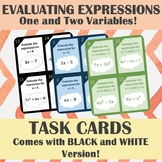 Evaluating Expressions For 1 and 2 Variables Task Cards