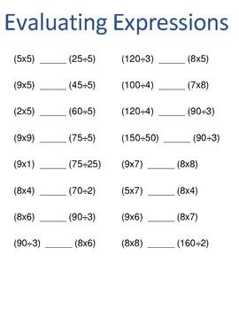 Evaluating Expressions Grade 5 Common Core Standard- 5.OA.1