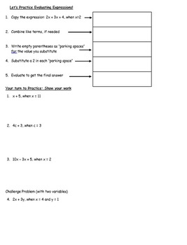 Evaluating Expressions Guided Notes with Answer Key