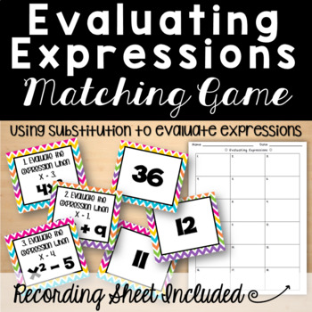Evaluating Expressions Matching Game